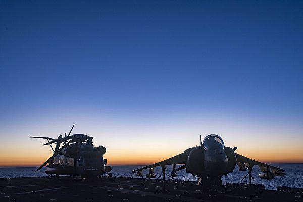 USS Bonhomme Richard transits the Coral Sea at sunrise