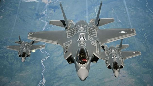 F-35A Lightning II aircraft receive fuel from a KC-10 Extender from Travis Air Force Base