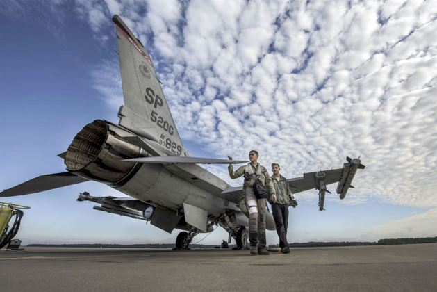 F-16 Fighting Falcon aircraft during an aviation rotation at Krzesiny Air Base, Poland