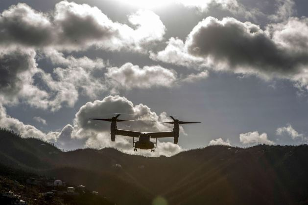 Marine Corps MV-22B Osprey approaches a landing zone in St. John, in the U.S. Virgin Islands