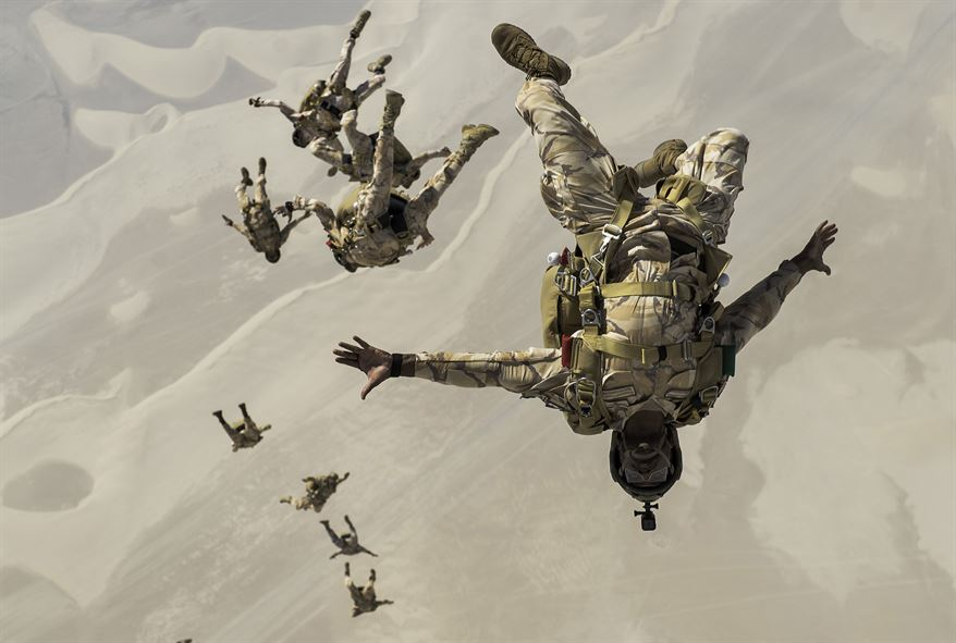 Qatari special operations personnel conduct a military free-fall