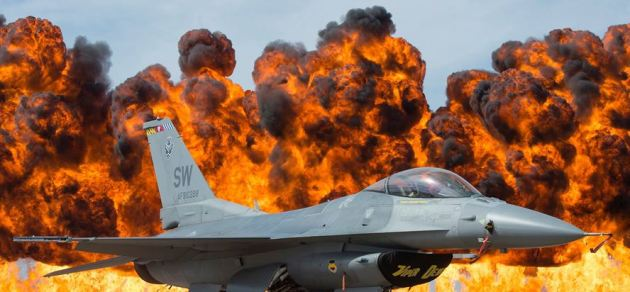 Air Force F-16 Viper sits just a few hundred feet from the wall of fire at the Fort Worth Alliance Air Show