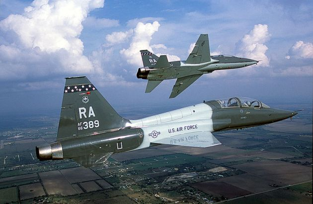 Air-to-air right side view of an USAF T-38 Talon aircraft from 560th Flying Training Squadron, Randolph AFB, TX