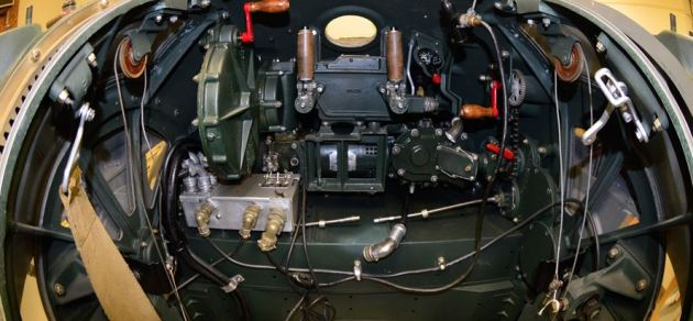 The ball turret of the B-17F Memphis Belle in the restoration hangar at the National Museum of the U.S. Air Force