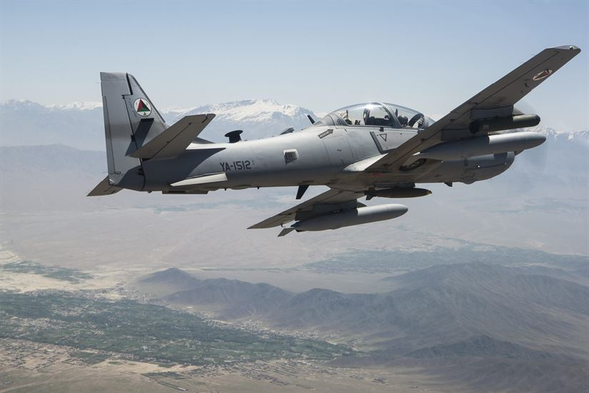 Afghan air force A-29 Super Tucano flies over Kabul, Afghanistan