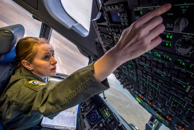 Air Force Capt. Maggie R. Linn Preflights a C-17 Globemaster