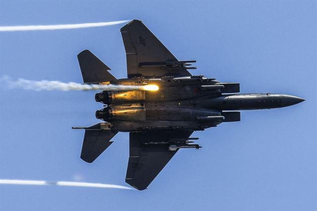 F-15E Strike Eagle Releases Flares