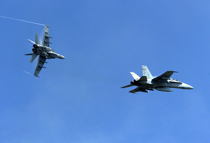 F-A-18C_Hornets_perform_a_carrier_break_