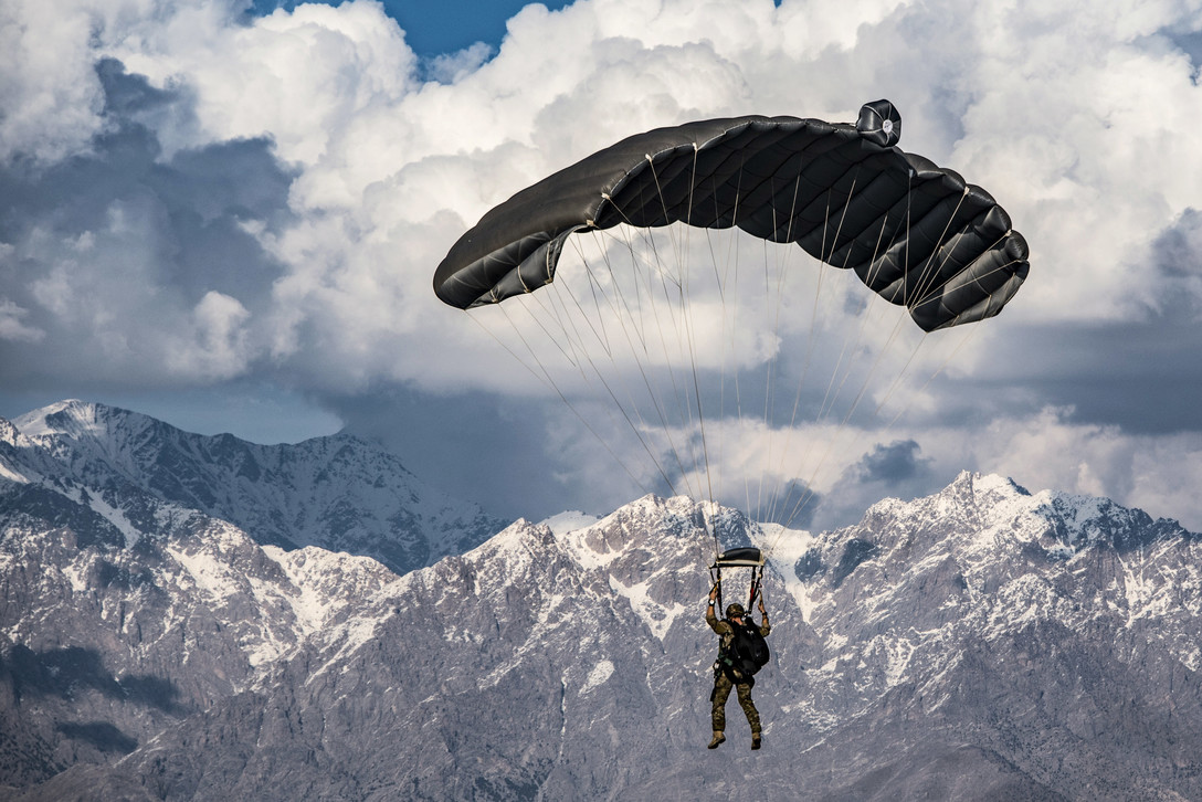 Air Force pararescueman conducts a high-altitude, high-opening free fall jump