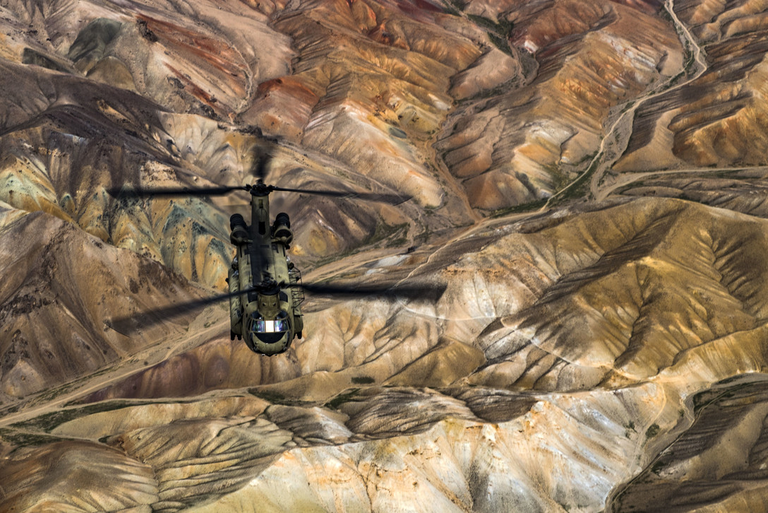 Army CH-47F Chinook Helicopter Flying Over Afghanistan