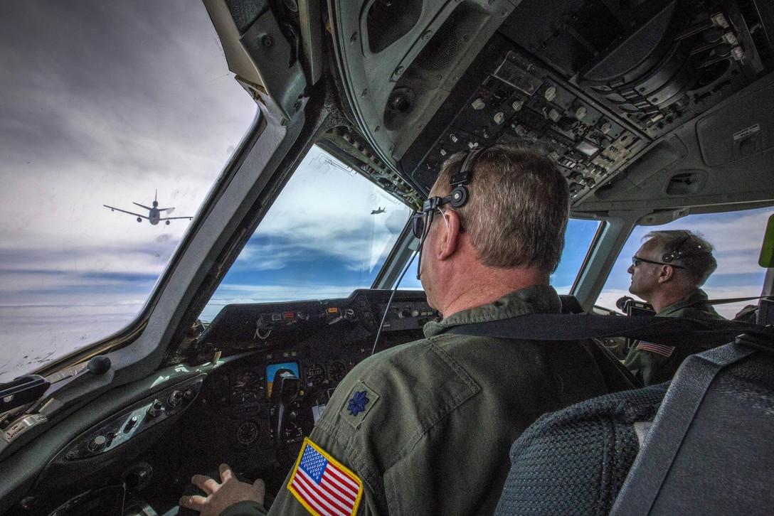 KC-10 Extender Approach Another KC-10 over the Atlantic Ocean