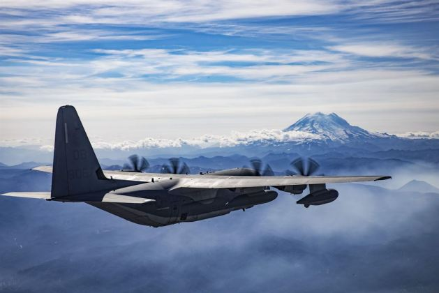 Marine Corps KC-130J Hercules aircraft conducts division tactical navigation training near Naval Air Station Whidbey Island