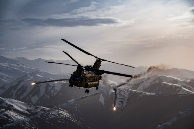 U.S. Army Task Force Brawler CH-47F Chinook releases flares
