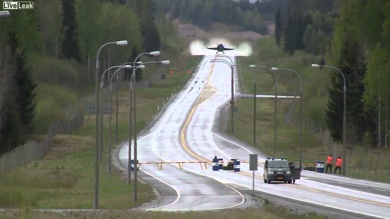 FA-18 Hornet Taking Off From a Public Highway