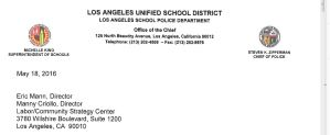 Los Angeles School Police Chief Steven Zipperman Record of 1033 participation letter to FFSC