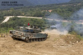 K2 Black Panther Tank 120mm L55 Smoothbore gun firing
