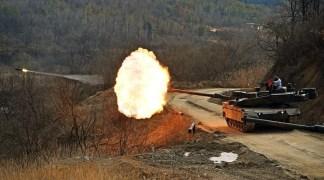 K2 Black Panther Tank 120mm L55 Smoothbore gun firing