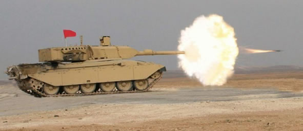 Falcon Turret on Challenger 1 Al-Hussein Tank Firing