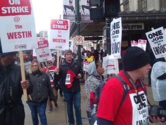 Hotel workers on strike in Detroit, October 21.