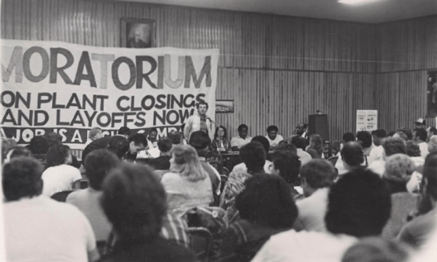Mass rally of autoworkers in Flint, MI calling for a moratorium on plant closings. (January 31, 1987)