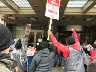 Striking workers at the Westin Book Cadillac in Detroit declare victory after reaching a settlement with the Marriott-owned hotel on November 3.