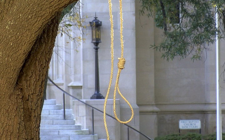 A noose hangs from a tree on the state capitol grounds in Jackson, Mississippi.
