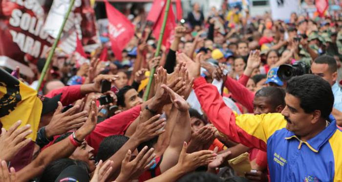 Maduro in a crowd of supporters