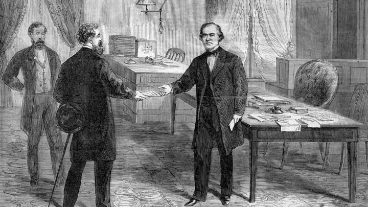 Woodcut Of Andrew Johnsons Impeachment