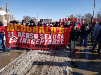 McDonald's workers demand an end to sexual harassment at #FastFoodGlobal Day of Action strike in Detroit on Nov. 14