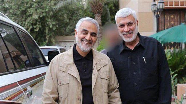 Major General Qassem Soleimani, commander the Quds Force of Iran's Islamic Revolution Guards Corps (L), and Abu Mahdi al-Muhandis, deputy head of Iraq's Popular Mobilization Units