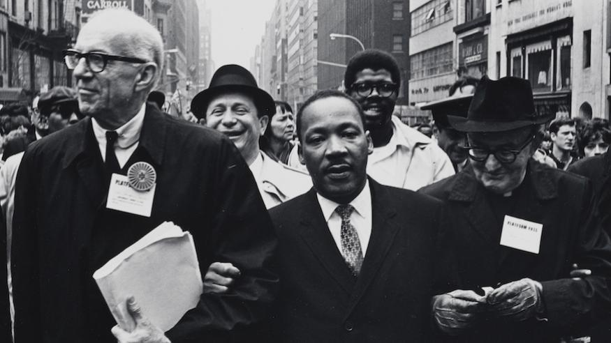 Martin Luther King, Jr. at United Nations march against the Vietnam War on April 15, 1967