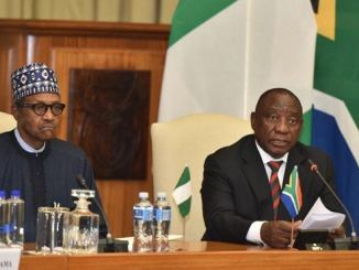 South African President Cyril Ramaphosa and Nigerian counterpart Muhammadu Buhari on state visit