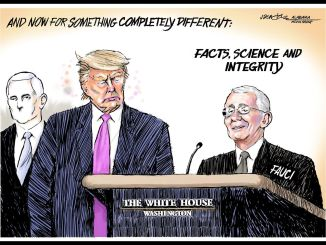 Trump and Fauci cartoon