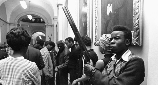 Black Panther members protest gun control at the California State Capitol on May 2, 1967