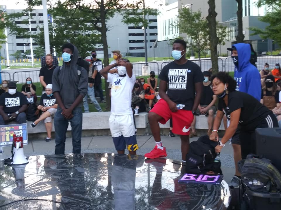 Detroit 100 Days Victory March as youth leaders gather to launch militant action throughout downtown on Sept. 5, 2020