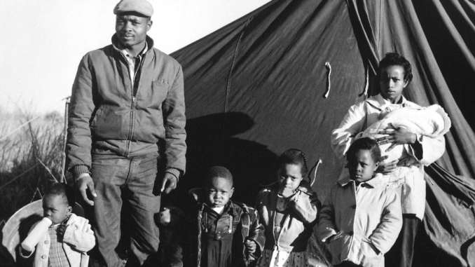 African American tenant farmers evicted after registering to vote in Fayette County, Tennessee, Winter 1960