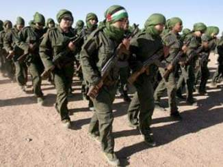 Polisario Front women soldiers march in formation