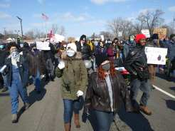 Detroit demonstration against evictions in the 10th precinct, DWB youth in the lead