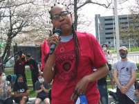 Detroit demonstration against illegal evictions on April 10, 2021 outside police headquarters