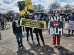Asians for Black lives at rally in Ann Arbor, April 17, 2021