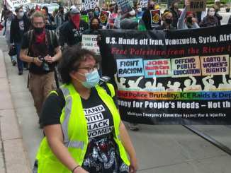 Detroit May Day 2021 march with Moratorium NOW! Coalition, Detroit Will Breathe, among others
