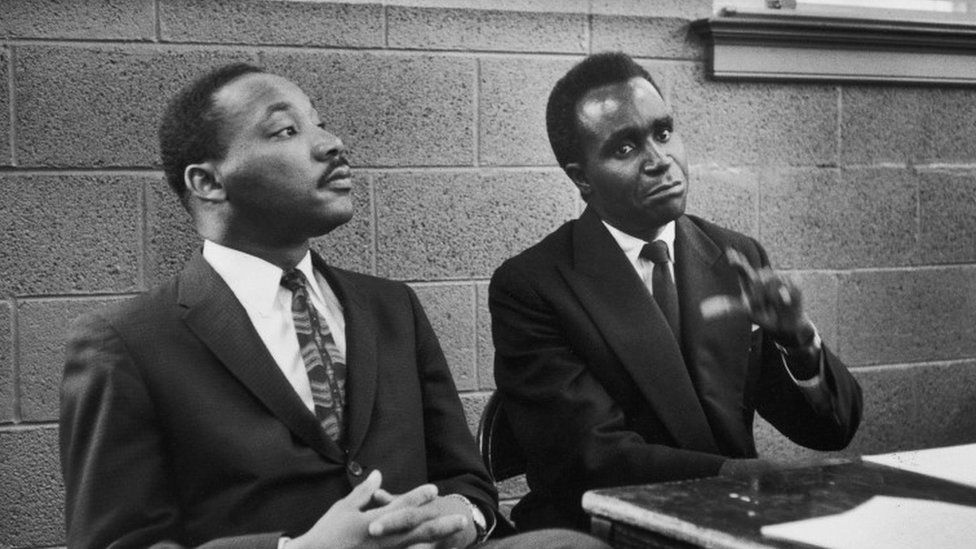 Zambian President Kenneth Kaunda and Dr. Martin Luther King, Jr. in 1960 in the United States (BBC photo)
