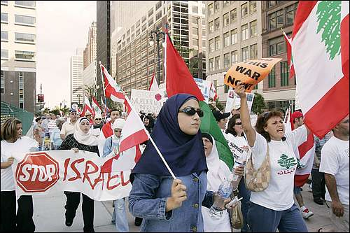 Detroit demonstration organized by MECAWI in 2006 to protest the Israeli bombing of Lebanon