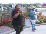 Detroit Action organizer speaks at rally to demand release of federal CERA funding, Sept. 8, 2021