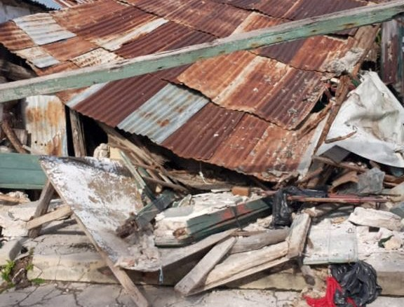 One of the 53,000 homes destroyed by the earthquake