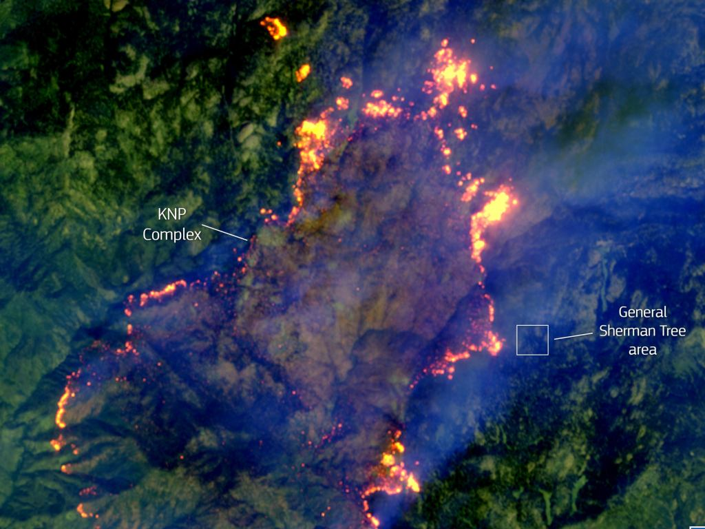 September 18. 2021 satellite photo of the KNP wildfire in northern California