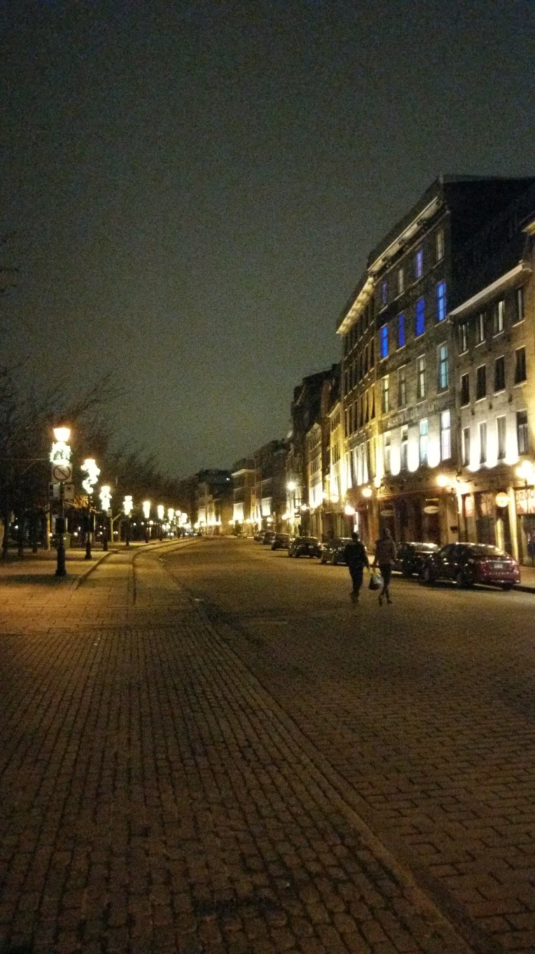 The empty streets of Old Montreal