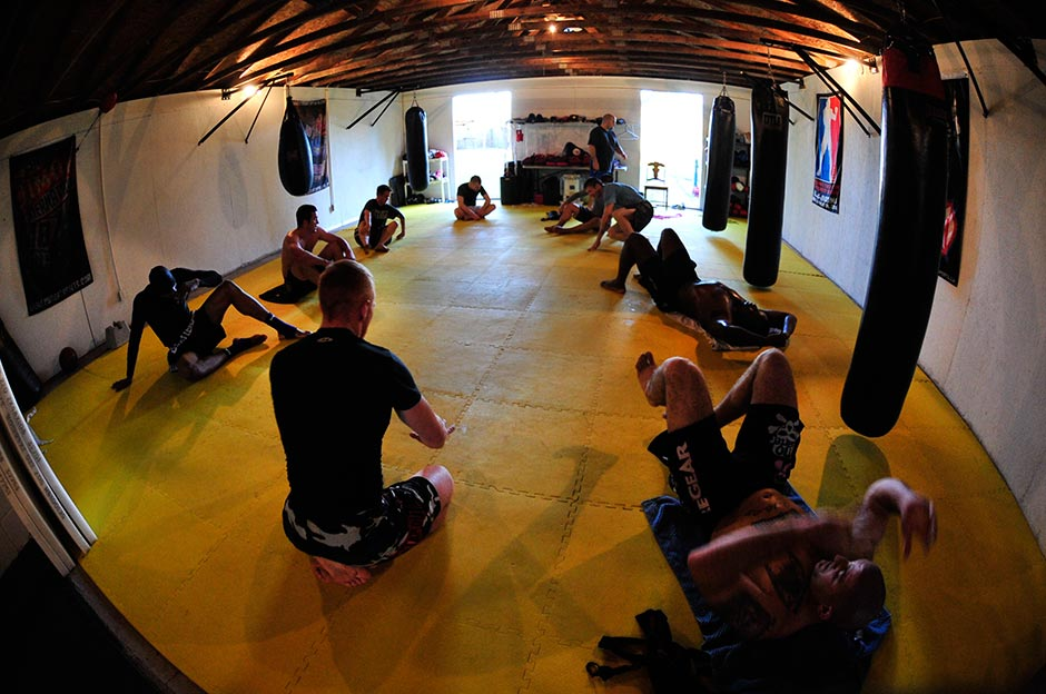 MMA and bjj athletes in the academy.