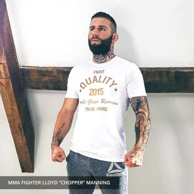 Lloyd Manning - Wearing the Fight Quality Gold T-Shirt