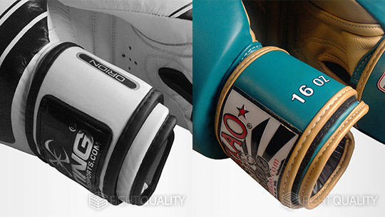 Sting Orion Competition Premium Boxing Gloves (left) compared to the Yokkao Vintage Muay Thai Boxing Gloves (right)